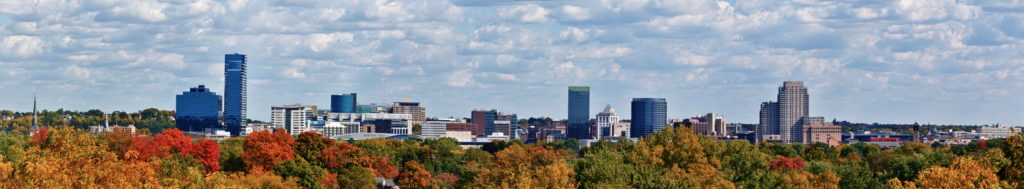 View of the Grand Rapids Michigan skyline
